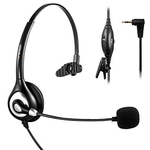 Arama Headset mit 2.5mm Klinke für Cisco Linksys SPA Polycom Grandstream Panasonic Zultys Schnurlose DECT-Telefone und Gigaset büro IP Telefone (A600CP)