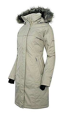 COLUMBIA Women's Flurry Run Down Long Omni Heat Jacket Coat Hooded Parka (Small, Sage)