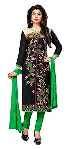 Khushali Presents Embroidered Chanderi Dress Material(Black,Green)