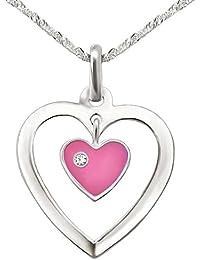 CLEVER SCHMUCK-SET Silberner Anhänger Herz 17 mm offen mit Einhänger Mini Herz rosa und Stein weiß mit Kette Singapur 40 cm STERLING SILBER 925 für Kinder im Etui