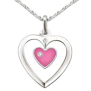 CLEVER SCHMUCK Set Silberner Anhänger Herz 17 mm offen mit Einhänger Mini Herz rosa und Stein weiß mit Kette Singapur 40 cm Sterling Silber 925 für Kinder