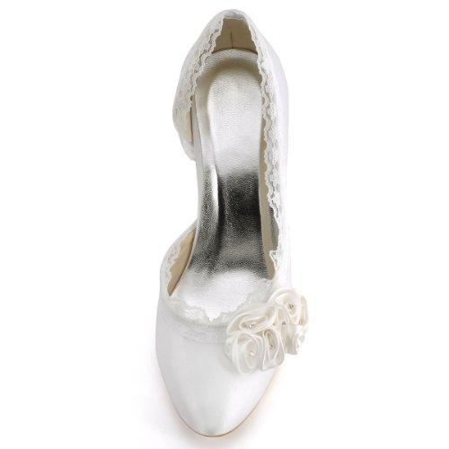 Elegantpark EP11039 Satin Geschlossene Zehen Blumen Pumps Stiletto Damen Brautschuhe Ivory