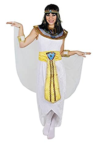 PLUS SIZE LADIES QUEEN OF THE NILE COSTUME CLEOPATRA FANCY DRESS INCLUDING WIG - ANCIENT EGYPT EGYPTIAN PRINCESS OUTFIT WHITE VELOUR DRESS + COLOURED COLLAR + YELLOW GOLDEN BELT + HEADPIECE + ARMBANDS + BLACK EGYPTIAN WIG- SIZE: XXLARGE