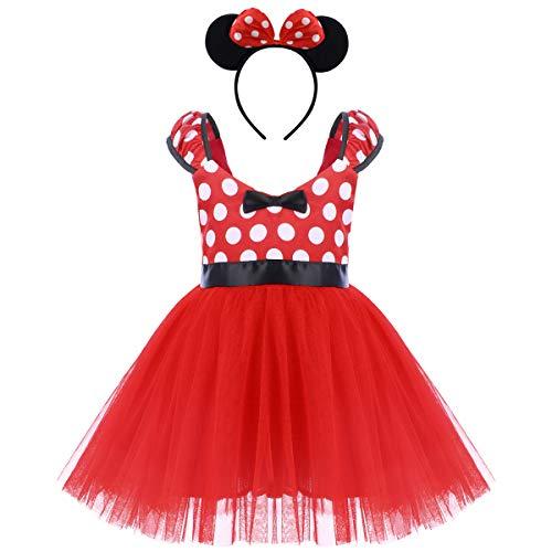 OBEEII Baby Kleidung Set Strampler Rock Haarreif Baby Mädchen Kleider Baumwolle Prinzessin Kostüm Neugeborene Polka Dots Rock Tutu Kleid 5-6 Jahre Rot (Allerheiligen Kostüm Mädchen)