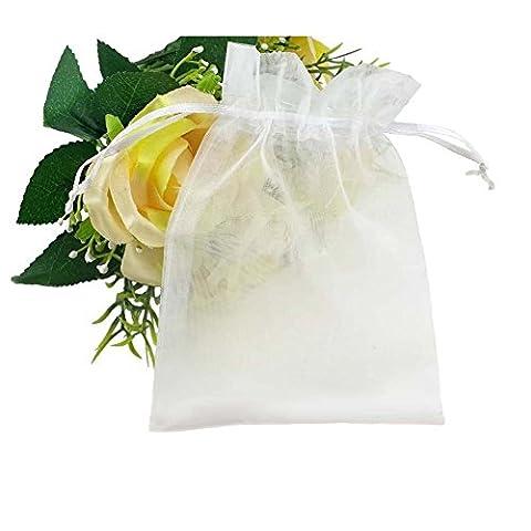SumDirect 100PCS10x15cm Sheer Organza Schmuck Geschenk Beutel Hochzeit Party Weihnachten Favor Geschenk Taschen Weiß