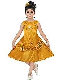 Chandrika Girls midi Knee Length Satin Sleeveless Party Dress