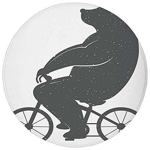 ZMYGH Round Rug Mat Carpet,Vintage Decor,Bear on a Bike Cute Humor Parody Stylized Modern Funny Cycling Hipster Artwork,Grey,Flannel Microfiber Non-Slip Soft Absorbent,for Kitchen Floor ()
