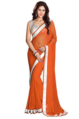 Sari Indien Kostüm Orange - Mirchi Fashion Bollywood indischer Frauen Sari mit Ungesteckt Oberteil/Top Party Indians Saree Kleidung