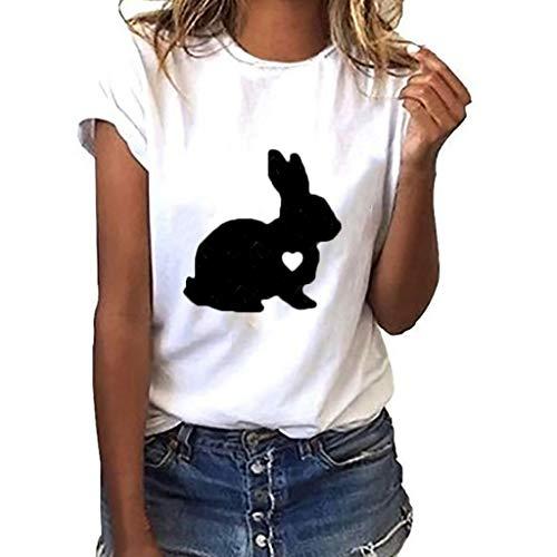 Hot Cop Frauen Kostüm - UYSDF Damen Plus Size Kaninchen Geste Print Kurzarm T-Shirt Tops O-Neck Bluse 2019