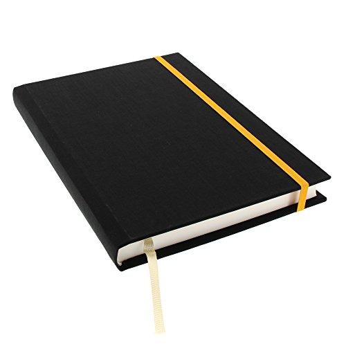 Goldbuch Notizbuch A5, Linum, 200 chamoisfarbene, linierte Seiten, Leinen, Schwarz, 64835