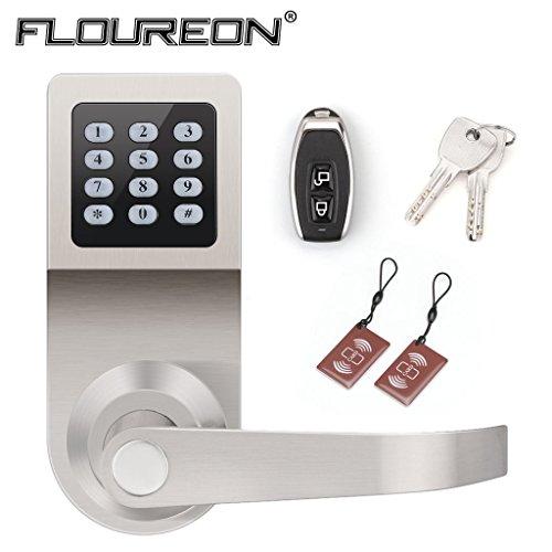 4 in 1 Elektronisches Türschloss aus Zinklegierung Zutrittskontrolle durch Passwort + Fernbedienung + Schlüssel und M1 Karte für Handelsbüro, Hotel, Wohnprojekte