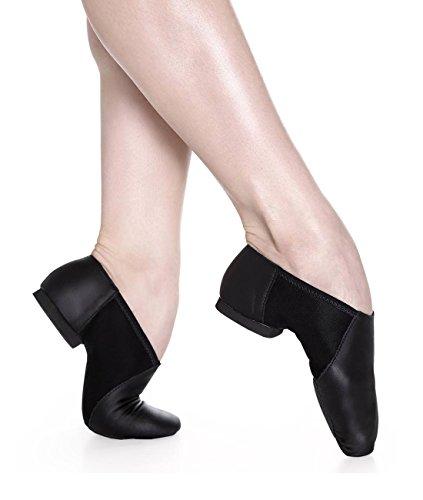 Jze45 De Sapatilha Com Danca Sapatos Couro Ginástica De Jazz Assim Fitness Stretch Dividida Sapatos Sola Borracha De Yoga Preta Dança Aeróbicos 5qgxwIc