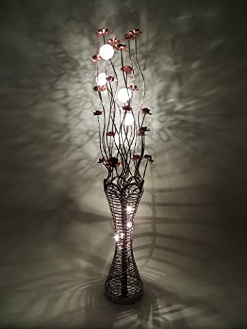 Elegance Coffee Woven Wire and Aluminium Floor Lamp with Jewel