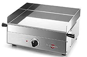 KRAMPOUZ Design Contact Grill tabletop Electric 1800W Stainless Steel–barbecues & Grills (1800W, contact Grill, Electric, tabletop, Griddle, Stainless Steel)