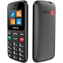 """VIENOD V105 2G Telefono Cellulare per Anziani con Tasti Grandi, Cellulare Facile da usare con Tasto SOS, 1.77"""" Display, Supporto SIM Doppio, Chiamata Rapida and Torcia - Nero"""