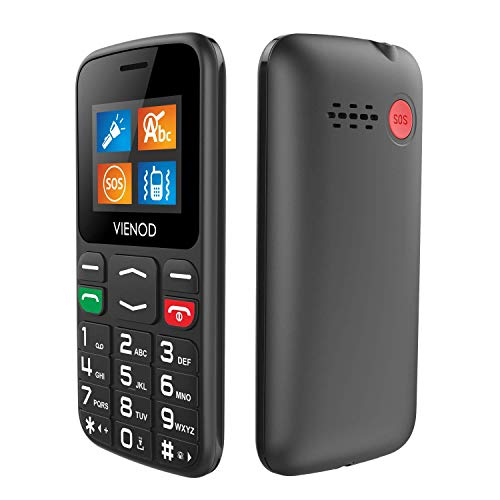 VIENOD V105 2G Telefono Cellulare per Anziani con Tasti Grandi, Cellulare Facile da usare con Tasto SOS, 1.77' Display, Supporto SIM Doppio, Chiamata Rapida and Torcia - Nero