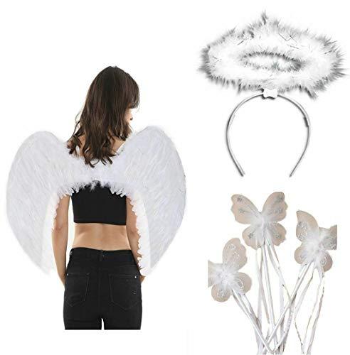 Damen Feen-Engel-Kostüm-Accessoire, Schmetterlings-Zauberstab mit Federn, Flügeln Gr. One size, Fairy Angel Accessory - Engel Kostüm Accessoires