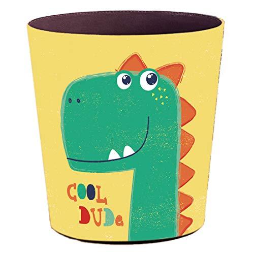 TETAKE Papierkorb Kinder mit Motiv Dinosaurier, 10L Papierkörbe Kinderzimmer, Abfalleimer aus Leder, Wasserdicht Mülleimer ohne Deckel für Kinderzimmer Wohnzimmer Schlafzimmer Büro