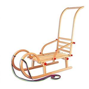 Erst-Holz® 21-095-Stange Hörnerschlitten + Schubstange Länge 95 cm Schlitten Holzrodel
