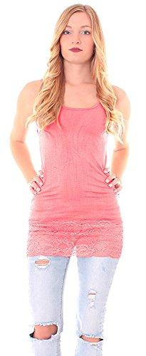 Easy Young Fashion Damen Trägertop lang mit Spitze Corall