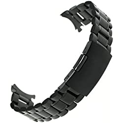 Ritche 22mm Stainless Steel Bracelet Watch Band Strap Curved End Solid Links Color Black