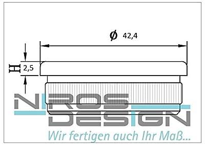 10 x Endkappe Flacheform für Ø 42,4 x 2 mm Rohr aus AISI304 von NIROS Design auf Du und dein Garten