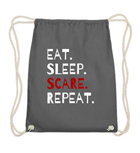 Shirtee Eat Sleep Scare Repeat - Diabolischer Spaß am Erschrecken und Fürchten zu Halloween - Baumwoll Gymsac