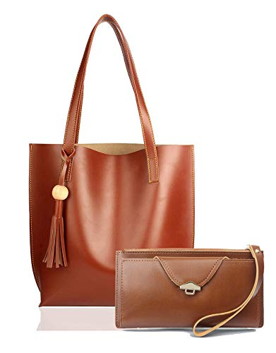 Mammon Women's Synthetic Shoulder Bag and Clutch Wallet Combo (Tan)