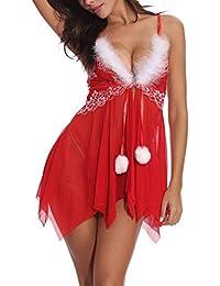 ZEERKEER Lencería Babydoll de Encaje para Mujer Sexy Lencería Babydoll de  Navidad Conjunto de Piel Blanca 96cdcb369d5d