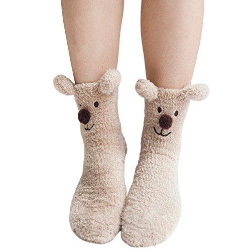 Zoylink MäDchen Boden Socken PlüSch Socken 3D Cartoon Winter Warme Socken Rohr Socken Schlafsocken FüR Frauen - Mädchen Rohr Socken