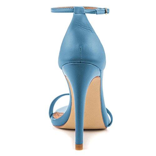 SHOFOO - Femmes - Escarpins - Cuir synthétique - Bride de cheville - Violet ou Rouge ou Bleu - Talon aiguille - Bout rond ouvert Bleu