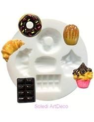 Moule en silicone 5 motifs miniatures Gourmandise Donut, Croissant, Madeleines, Cupcakes. Rond de 7cm extra flexible