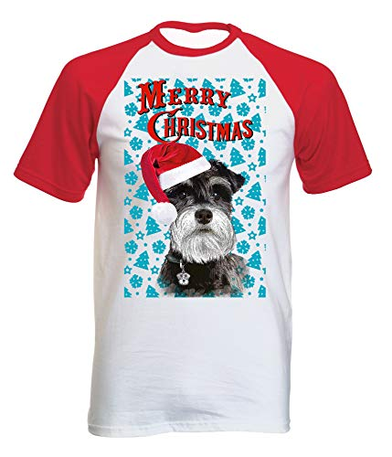 99397c16 TEESQUARE1st Men's Schnauzer Santa Christmas Tree P1 Red Short Sleeved T- Shirt Size XXLarge