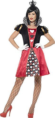 Smiffys 45490S - Damen Herz-Königin Kostüm, Kleid, Krone und Handschuhe, Größe: 36-38, rot (Halloween Hearts Queen Of)