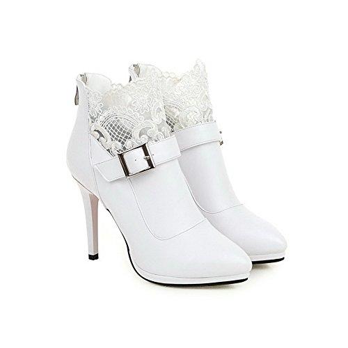 AllhqFashion Femme Pu Cuir Haut Bas Couleur Unie Zip Stylet Bottes Blanc