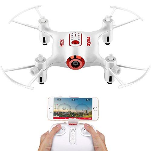 FPV Mini Drone Syma X21W Kleine UFO Drohne Mit Wifi Kamera Echtzeit Quadrocopter Flugstrecke One Key Start /Landung 3D Looping APP Steuerung Kopflos Modus Höhehalte 2.4 GHz Funkfernbedienung 6 Achsen Gyro für Anfänger Weiß