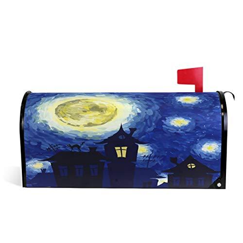 Wamika Van Gogh, Halloween, Sternennacht, magnetisch, Briefkastenpapier, Briefkasten, Garten, Hof, Heimdekoration für draußen, Standardgröße 52 cm (L) x 46 cm (B)