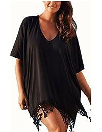 Camisolas y Pareos YOGLY Bikini Cover up Vestidos de Playa Color Sólido Blusa Bikini Cubierta de Mujer Tallas Grandes Beachwear