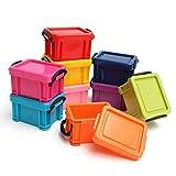 9er-Set Kleine Kunststoff Box Aufbewahrungsbox mit Deckel - Stapelbarer Schreibtisch Organizer - Größe 7,5x6,5x4,5cm - Bunter Handwerk Organisator Kasten, Mini Aufbewahrung Kiste für Schreibwaren