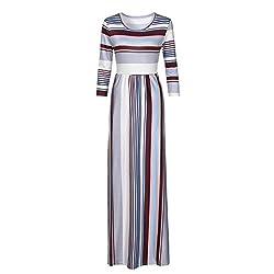 Hot Sale Kanpola Women's Casual Short Sleeve Elastic Waist Striped Splice Maxi Dress With Pockets by Kanpola