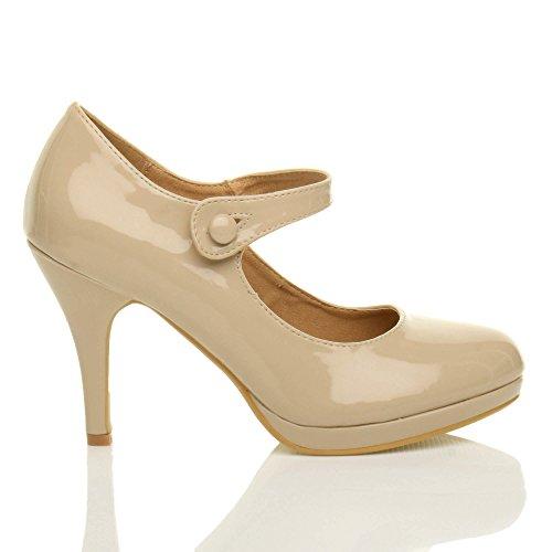 Damen Mittel Hoher Absatz Mary Jane Riemen Abend Elegant Pumps Schuhe Größe Beige Lack