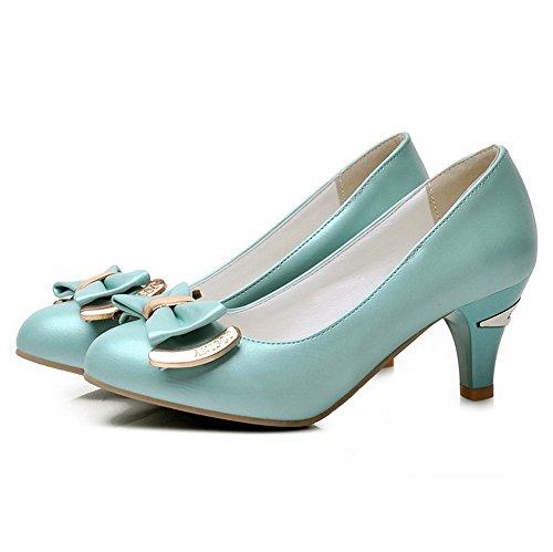 AllhqFashion Damen Mittler Absatz Weiches Material Rein Ziehen Auf Rund Zehe Pumps Schuhe Grün