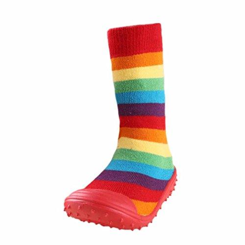 JERFER Boden Socken Rutschfeste Gummisohlen Schuhe-Premium Weich Leder Babyschuhe Jungen und Mädchen Babyschuhe - Neugeborene bis 1-3.5Jahre