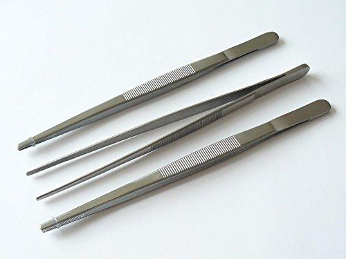 3x Pinzette, Futterpinzette, gerade - Länge 20 cm - gerieftes Maulprofil - hochwertiger Edelstahl Dental Zahntechnik Tiere Küche
