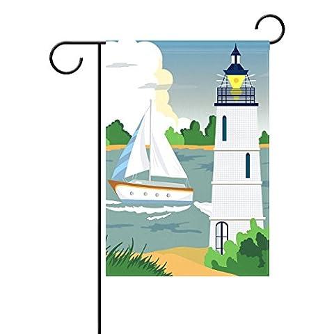 Duble Sided Yacht oder Schiff Leuchtturm Meer Strand Polyester HAUS GARTEN Flagge Banner 12x 18/71,1x 101,6cm für Hochzeit Party alle Wetter