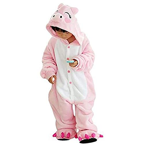 Kostüm Schwein Kinder - GWELL Kinder Kostüm Tier Kostüme Schlafanzug Mädchen Jungen Winter Nachtwäsche Tieroutfit Cosplay Jumpsuit Schwein Körpergröße 90-104cm