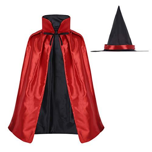 YiZYiF Kinder Magier Umhang mit Hexenhut Hexer Kinderkostüm Zauberer-Kostüm für Halloween Unisex Cape Fasching Cosplay Verkleidung One Size Rot One (Hexer Kostüm Kinder)