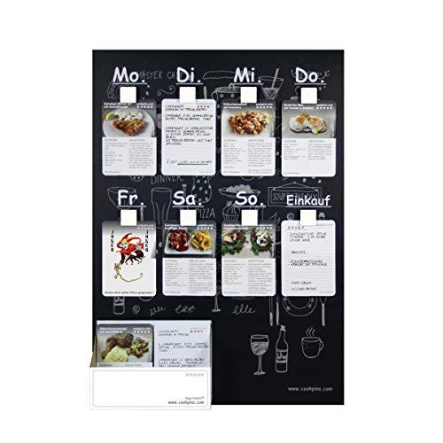 Wochenplaner m. 106 Rezeptkarten, wandhängend, Menütafel Kochrezepte Rezepttafel Kochtafel Familie Kochbuch Essensplaner Haushaltsplaner Cookpins Dekoration Küche