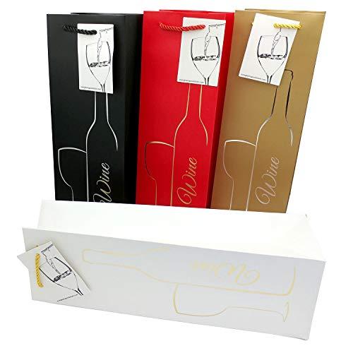 Geschenktüten mit Geschenkanhänger und Henkeln - Silhouette Flasche & Glas Design - Weinflaschenhalter für Hochzeiten, Jubiläen, Geburtstage, besondere Anlässe, H 39 cm x B 12 cm x T 9 cm