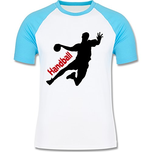 Handball - Handball - zweifarbiges Baseballshirt für Männer Weiß/Türkis